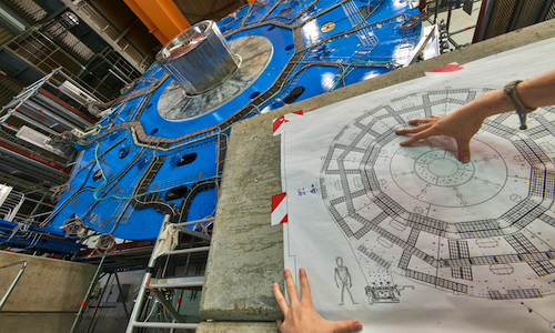 A wheel-shaped muon detector is part of an ATLAS particle detector upgrade at CERN.